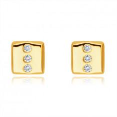 9К златни обеци – правоъгълник с три кръгли прозрачни цирконии, на винт