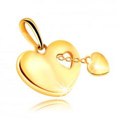 Златна 9-каратова висулка в сърцевидна форма - малко сърце на верижка
