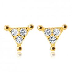 Обеци на винт от жълто 9-каратово злато – триъгълник с прозрачни цирконии