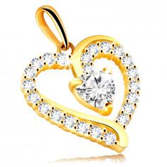 Висулка от жълто злато проба 375 – контур на сърце, блестящи прозрачни цирконии