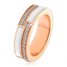 Стоманен пръстен в меден цвят, ивици бяла керамика и прозрачни цирконии, 6 мм