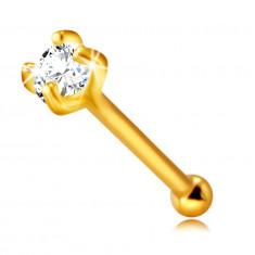 Пиърсинг за нос от 9-каратово злато – прозрачен кръгъл цирконий с четири пранги, 2 мм