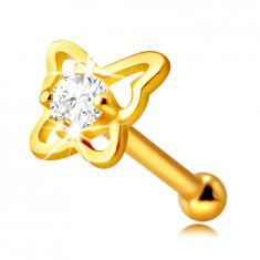 Златен пиърсинг за нос от 9К злато – контур на пеперуда с кръгъл, прозрачен цирконий, 1.5 мм