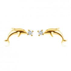 Обеци на винт, направени от 9К злато – гладък, лъскав делфин, малки, кръгли цирконии