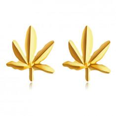 Обеци, направени от 9К жълто злато – листо канабис, на винт