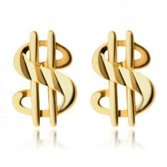 Златни обеци проба 375 – знака на Американския долар, лъскава и гладка повърхност, на винт