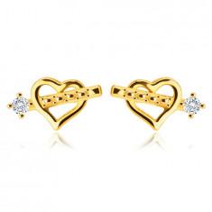 Обеци от 9К злато - сърце със стрелата на Купидон, цирконий в стойка, на винт