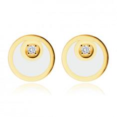 375 златни обеци - пръстен с форма на полумесец и бял гланц, малък, бляскав цирконий