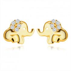 Обеци от 9К жълто злато - седящ слон с хобот, ухо, украсено с кръгъл цирконий