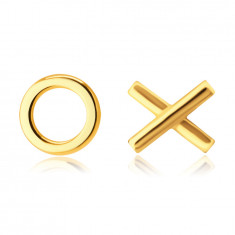 """Обеци, направени от 9К жълто злато – символ """"XO"""" symbol – Hugs and Kisses, studs"""