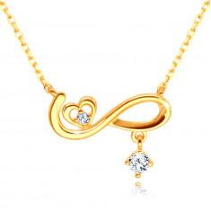 Златно 9-каратово колие – символ на безкрайност, симетрично сърце, прозрачен цирконий
